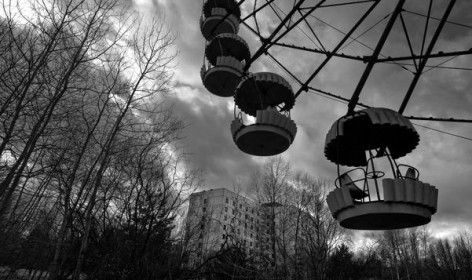 PRIPYAT, UKRAINE - MARCH 24: Trees have begun to take over the remains of a playground with a ferris wheel, a reminder of the once bustling city where workers who serviced the nuclear plant lived in Pripyat, Ukraine, on Thursday, March 24, 2011.